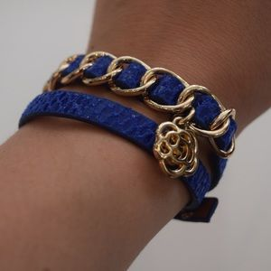 Faux Snakeskin Wrap Bracelet with Gold Accents